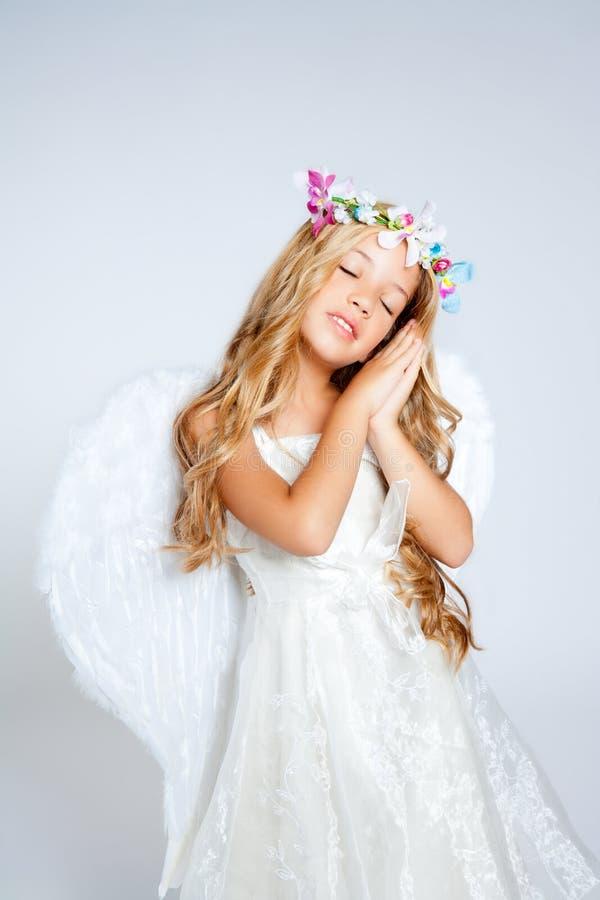 Angel children little blond girl stock photos
