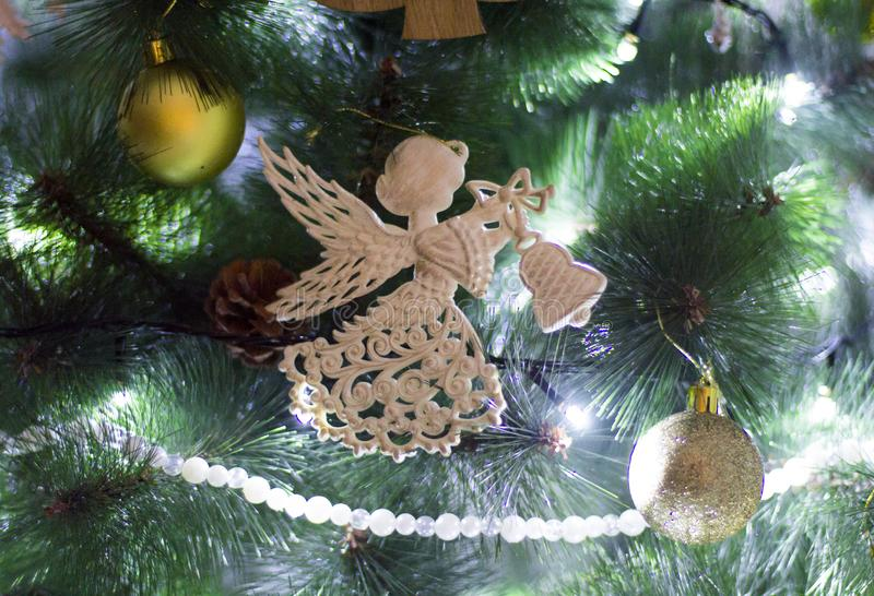 Angel on the Christmas tree. Christmas trees with toys stock photography