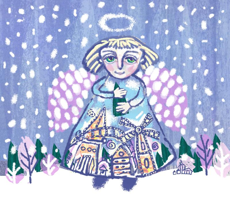 Angel with Christmas tree in hands on winter landscape background royalty free illustration