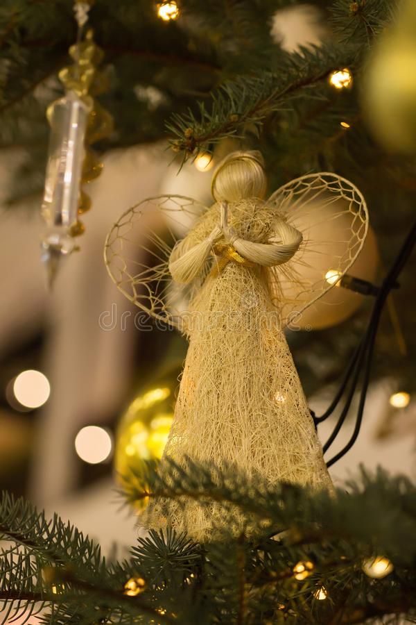 Angel is on the Christmas tree royalty free stock photography