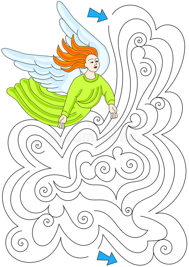 Angel Cloud Labyrinth Maze vector illustratie