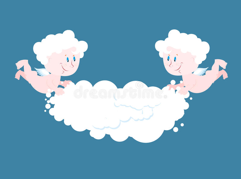 Angel and cloud. Two little Angels keep cloud. vector illustration