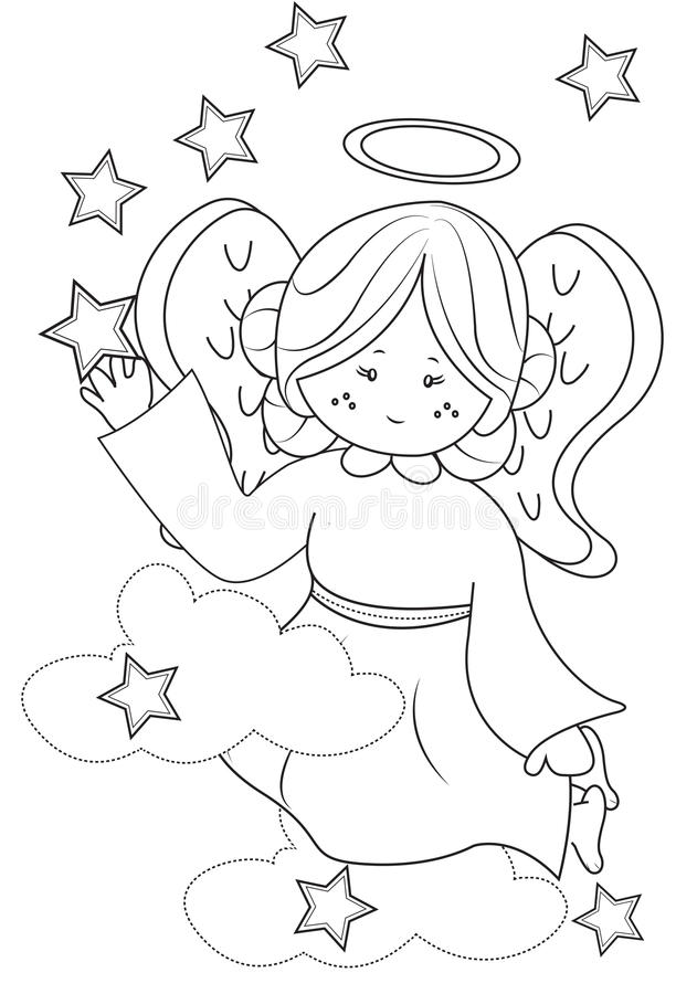 Angel coloring page. Useful as coloring book for kids stock illustration