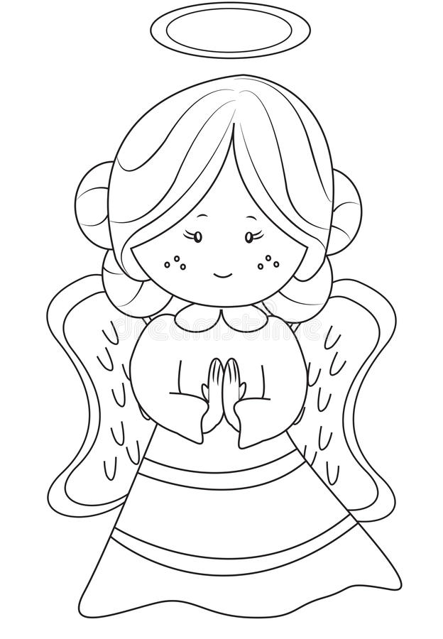 Angel coloring page. Useful as coloring book for kids royalty free illustration