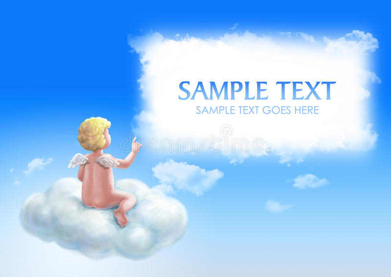 Angel with copyspace stock illustration
