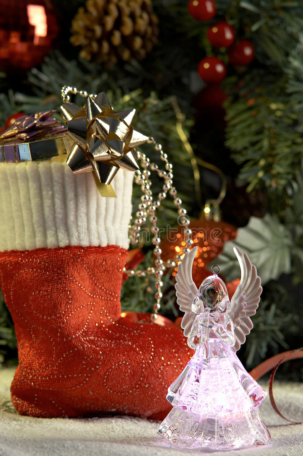 Download Angel And Cristmas Stocking With Presents Stock Image - Image: 3610673