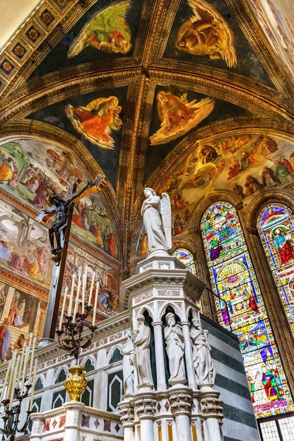 Angel Crucifix Stained Glass Santa Maria Novella Church Florence Italy imagen de archivo