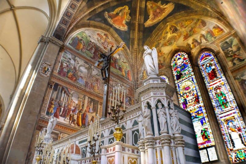 Angel Crucifix Stained Glass Santa Maria Novella Church Florence Italy foto de archivo libre de regalías