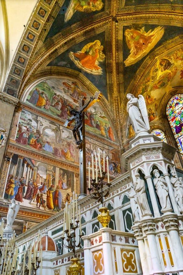 Angel Crucifix Stained Glass Santa Maria Novella Church Florence Italy imágenes de archivo libres de regalías