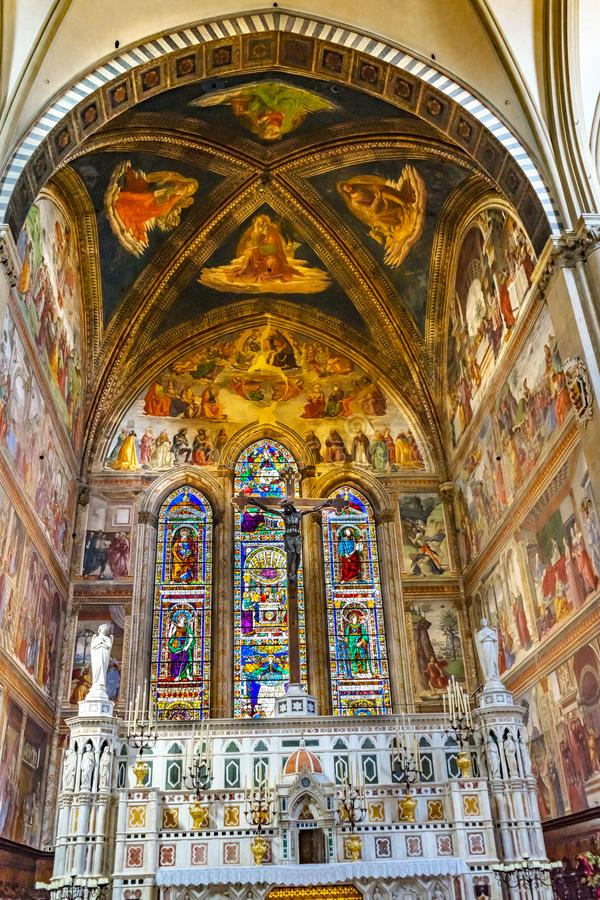 Angel Crucifix Stained Glass Santa Maria Novella Church Florence Italy fotografía de archivo libre de regalías