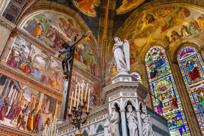 Angel Crucifix Stained Glass Santa Maria Novella Church Florence Italy fotografía de archivo