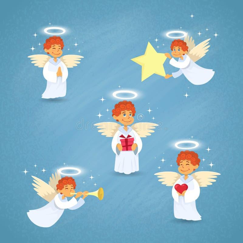 Angel Cupid Group Saint Valentine-Feiertag des Valentinsgrußes lizenzfreie abbildung