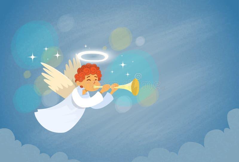Angel Cupid Holding Flute Saint Valentine Holiday de la tarjeta del día de San Valentín ilustración del vector