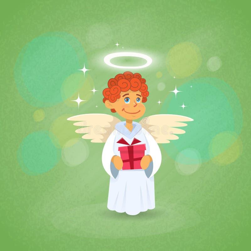 Angel Cupid Holding Present Saint Valentine Holiday des Valentinsgrußes lizenzfreie abbildung