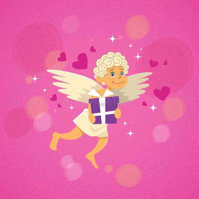 Angel Cupid With Present Saint Valentine Holiday de la tarjeta del día de San Valentín ilustración del vector