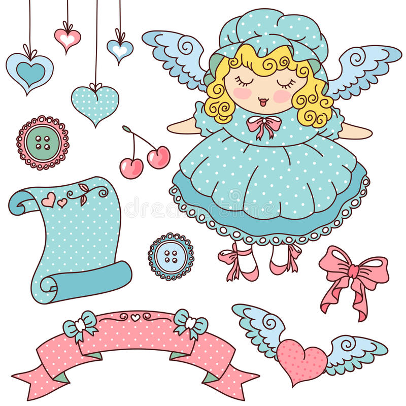 Angel And Cute Icons Stock Photos