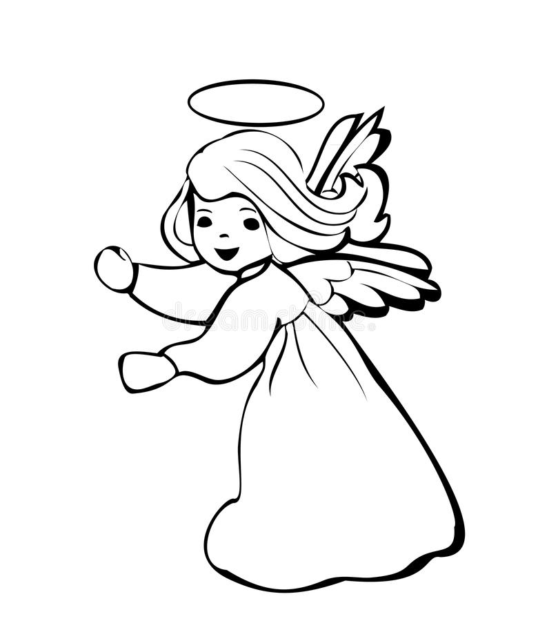 Angel dancing logo. Angel dancing happy silhouette logo vector illustration