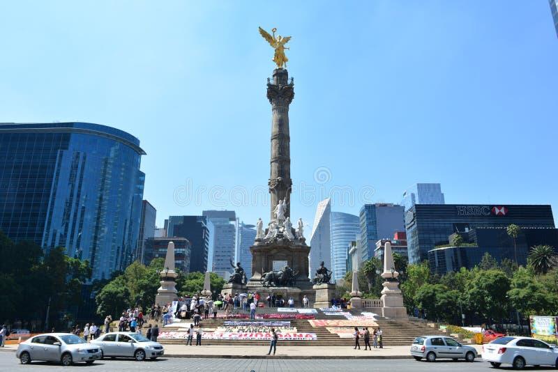 Angel de la Independencia雕塑,在墨西哥城 库存图片