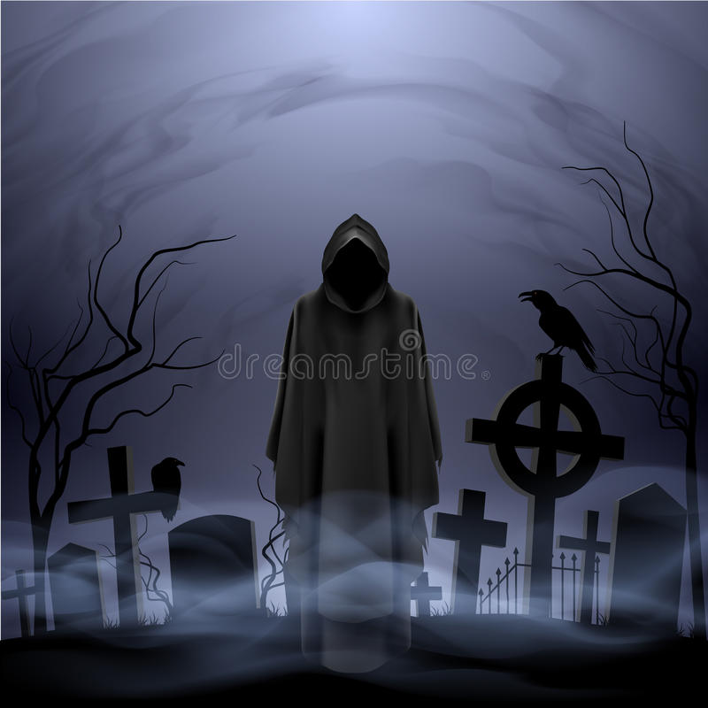 Angel of death in the cemetery stock illustration