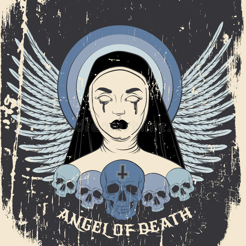 Angel of death. Colorful vector illustration of blind nun with human skull blood and cross royalty free illustration