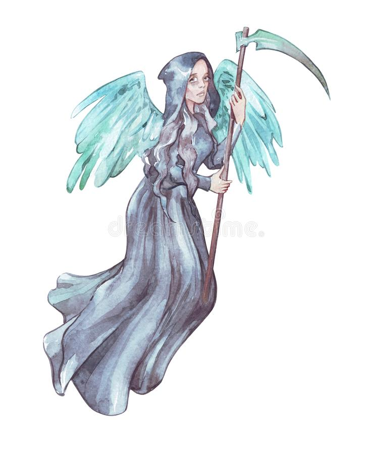 Angel of death with scythe vector illustration