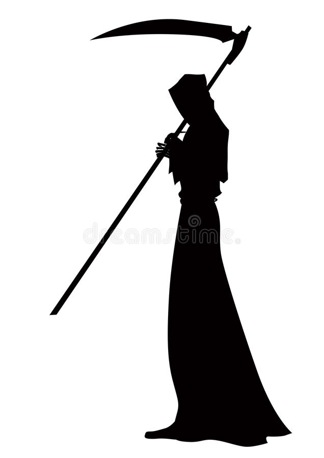 Angel of death with a scythe in his hands on white background. stock illustration