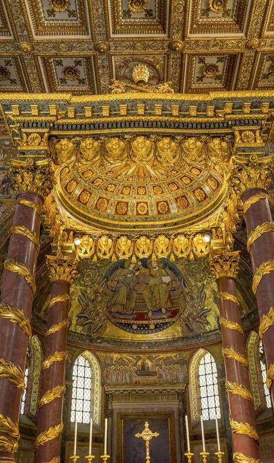 Angel Decorations High Altar Basilica Santa Maria Maggiore Rome Italy imagem de stock
