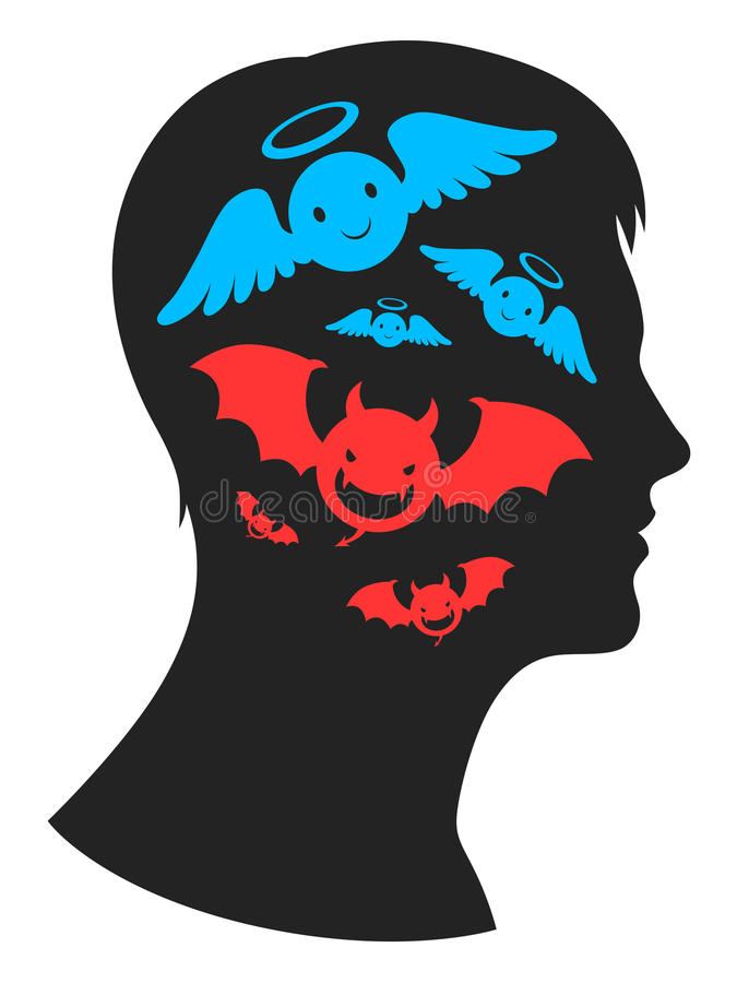 Angel and demon in head. Good and bad thoughts in human`s head royalty free illustration