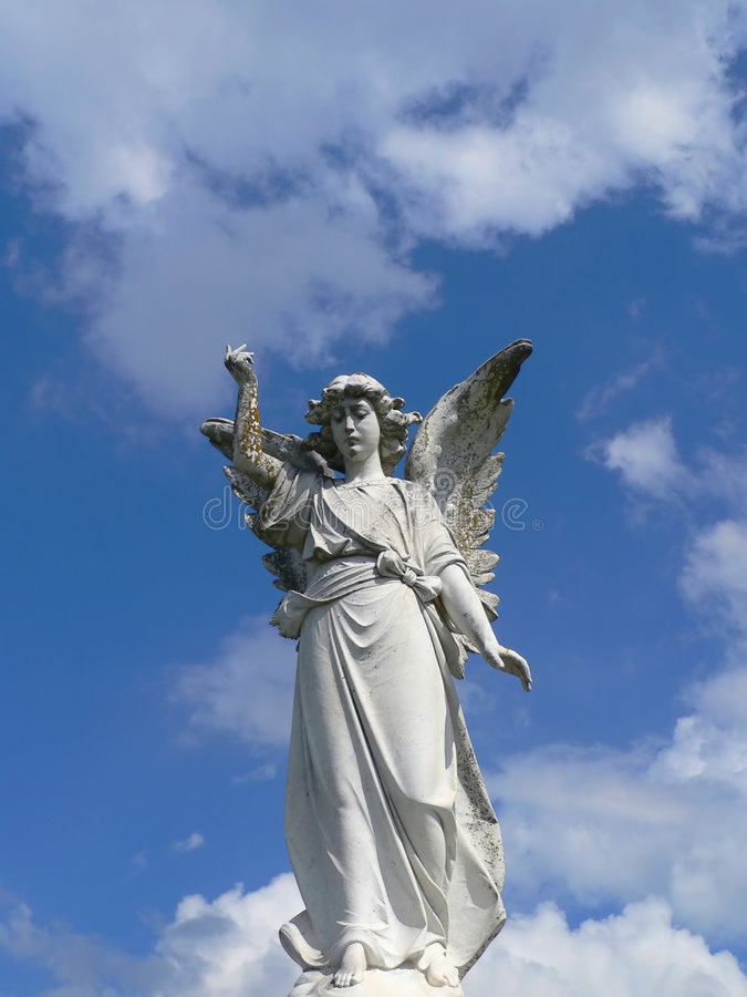 Download Angel Descending From Clouds Stock Photo - Image: 267480