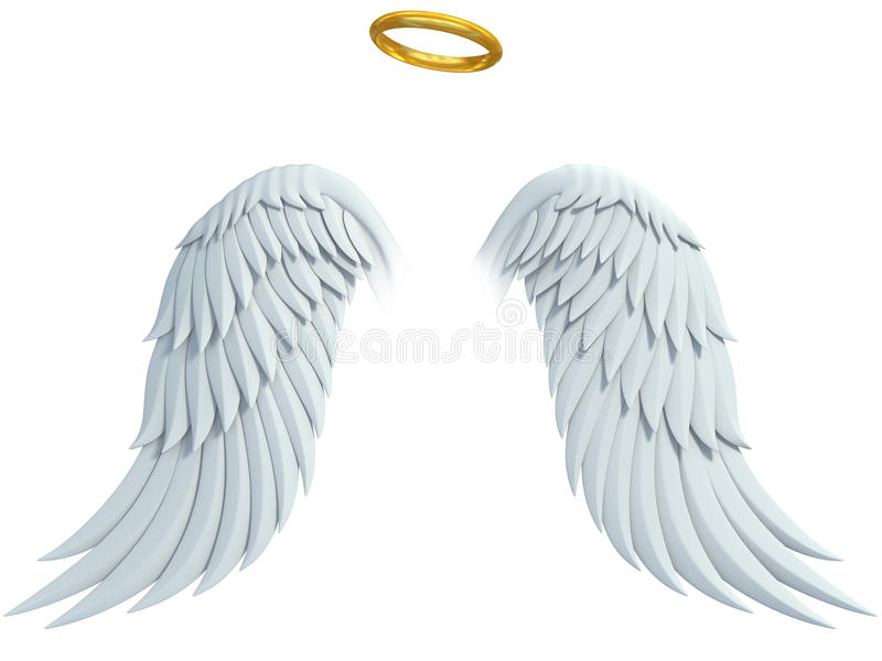 Angel design elements - wings and golden halo vector illustration