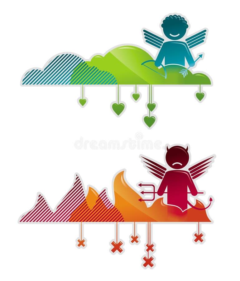 Angel & devil vector illustration