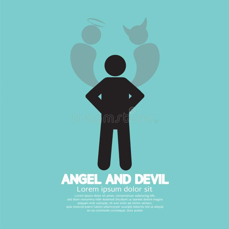 Angel And Devil Dark Side och ljus sida av människan royaltyfri illustrationer