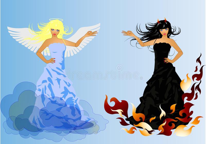 Download Angel And Devil Retro Woman Stock Vector - Image: 18358887