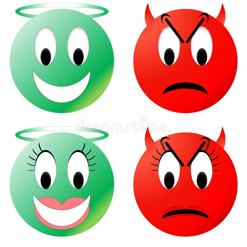 Angel and devil smiley royalty free illustration