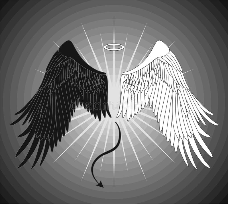 Angel and devil wings. On a gray background stock illustration