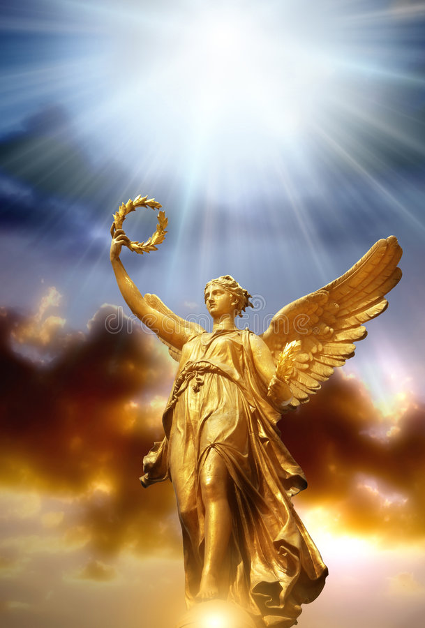 Angel with divine light royalty free stock photography