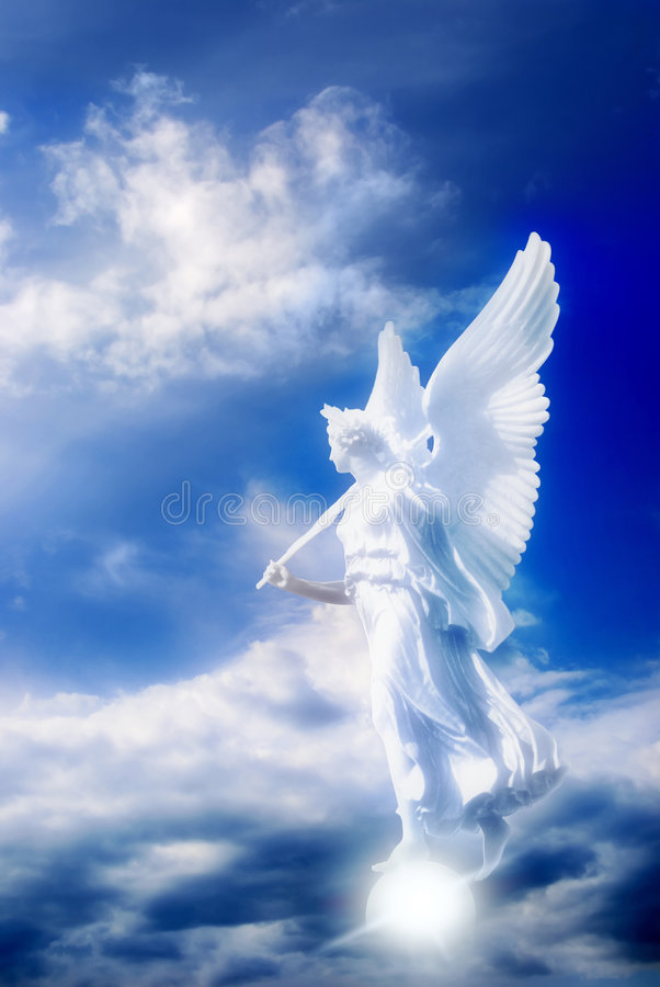 Angel in divine sky stock images