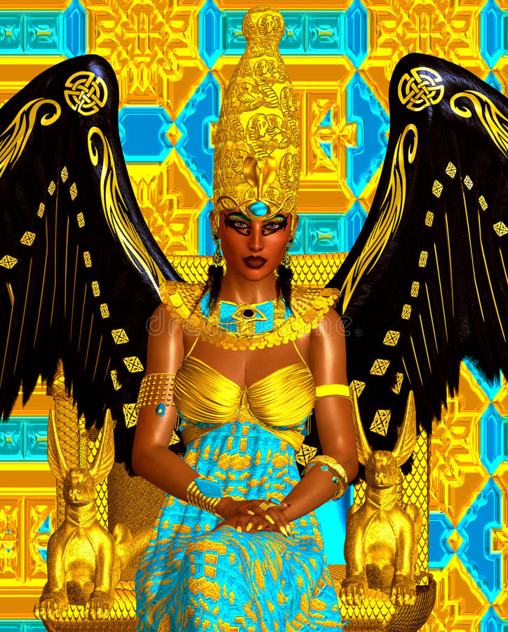 The Angel of Egypt. Wings of gold and black and feather earrings. vector illustration