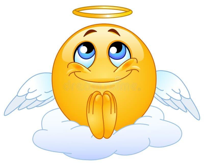 Angel emoticon. Sitting on a cloud