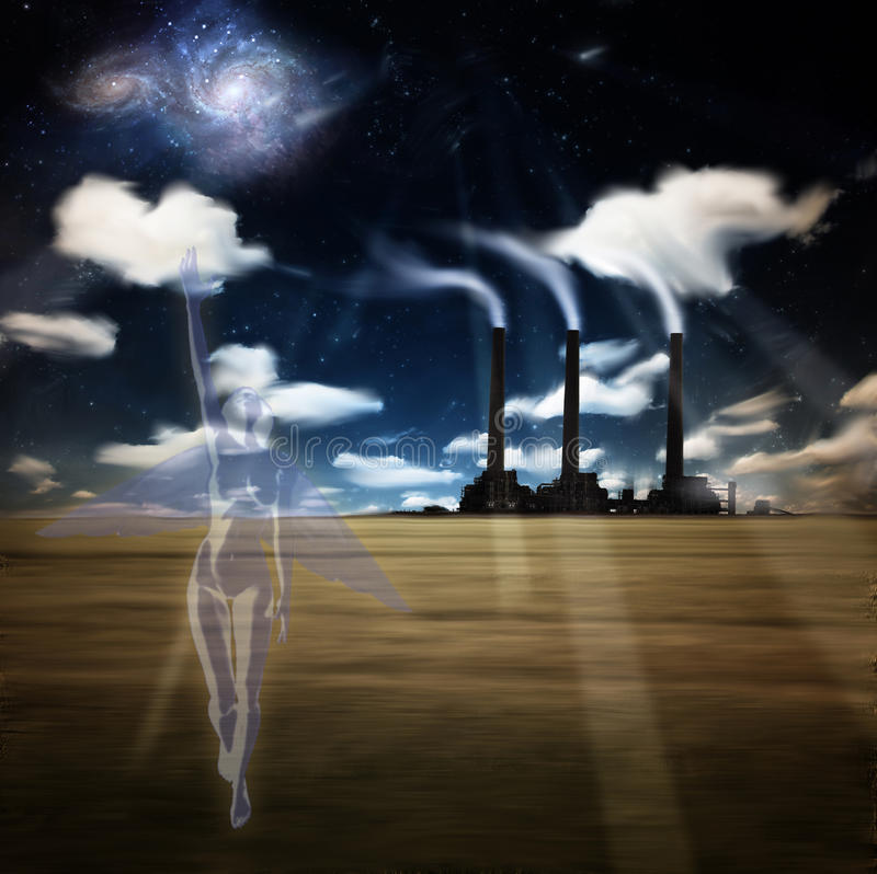 Download Angel of Factory Night stock illustration. Image of fairy - 14445054