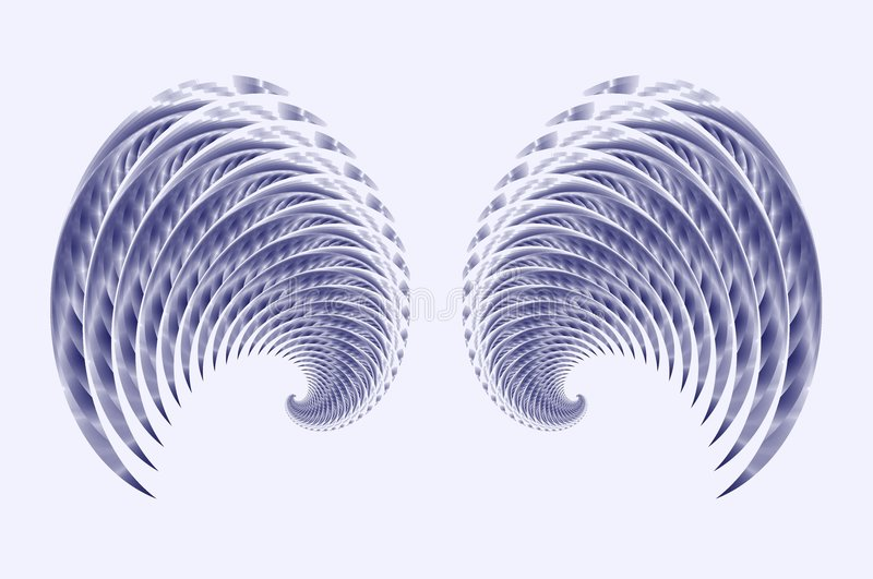 Angel Fairy or Bird Wings. An abstract image of angel, cherub or fairy wings in blue on a white background royalty free illustration