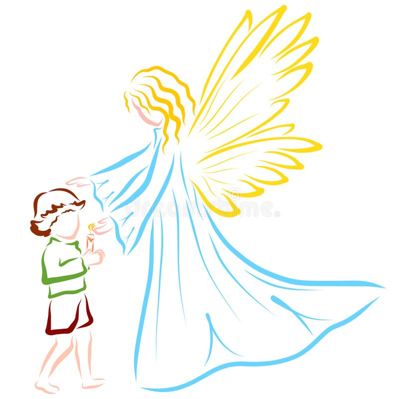 Angel or fairy guards the flame of a candle in the hands of a child vector illustration