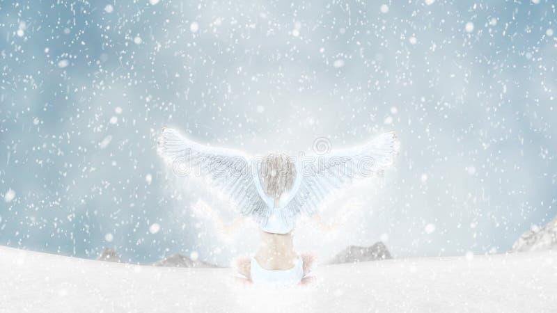 Angel Fairy Mediation Yoga Illustration congelado ilustração do vetor