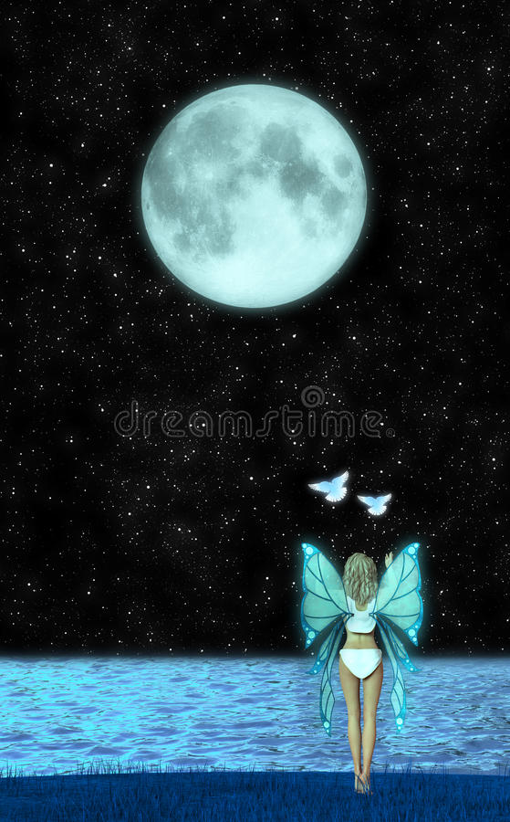 Angel Fairy Releasing Doves Illustration vector illustratie