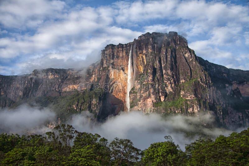 Angel Falls closeup - den högsta vattenfallet på jord fotografering för bildbyråer