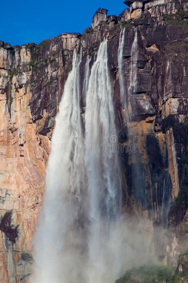 Angel Falls Salto Angel. World`s highest waterfall 978 m , Venezuela stock photography
