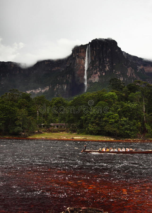 Angel Falls in Venezuela. Waterfall pouring down a cliff, Angel Falls, Venezuela stock image
