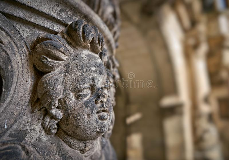 Angel figure at a historic house facade stock images