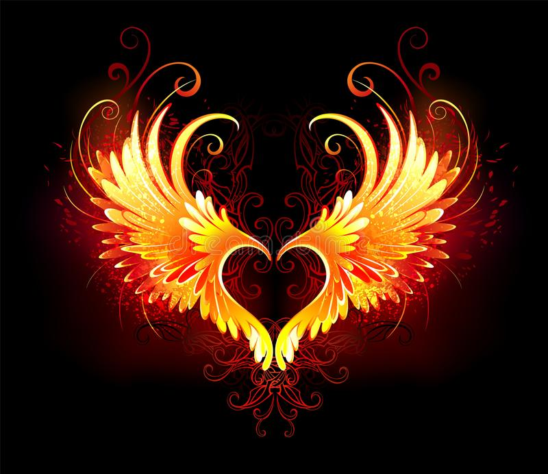 Angel fire heart with wings royalty free illustration