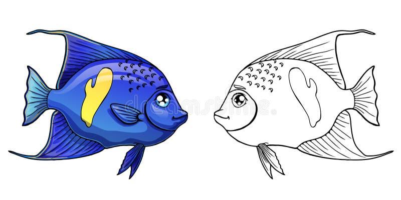 Angel Fish árabe colorido e contorno ilustração royalty free